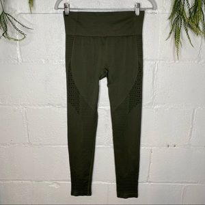 Olive Green Cut Out Workout Leggings Tights SZ S/M